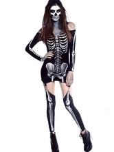 Anime Costumes AF-S2-657315 Halloween Sugar Skull Costume Women's Black Skeleton Sheath Dress Outfit