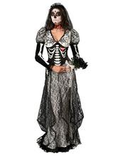 Anime Costumes AF-S2-657287 Halloween Sugar Skull Costume Lace Black Skull Printed Skeleton Costume In 3 Piece Set