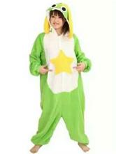 Anime Costumes AF-S2-657545 Kigurumi Pajama Keroro Onesie Green Flannel Sleepwear For Adults