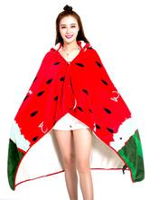 Anime Costumes AF-S2-657479 Adult Onesie Pajamas Kigurumi Watermelon Costume Snuggie Red Flannel Cape Cloak
