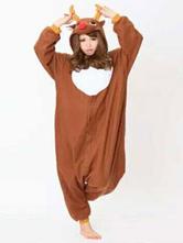 Anime Costumes AF-S2-657547 Kigurumi Pajama Reindeer Onesie Brown Flannel Animal Sleepwear For Adults