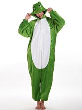 Anime Costumes AF-S2-657529 Kigurumi Pajama Frog Onesie Snuggie Green Flannel Animal Sleepwear For Women