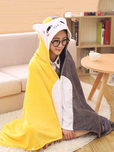 Anime Costumes AF-S2-657495 Kigurumi Onesie Pajamas Cat Snuggies Flannel Yellow Color Block Adult Poncho Cape Animal Costume