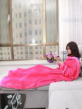 Anime Costumes AF-S2-657477 Kigurumi Onesie Pajamas Flannel Sleeved Blanket Adult Rose Red Snuggies