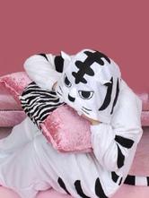 Anime Costumes AF-S2-657535 Kigurumi Pajama Tiger Onesie White Flannel Animal Sleepwear For Women