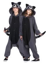 Anime Costumes AF-S2-657509 Kigurumi Pajama Racoon Onesie Snuggie Grey Flannel Animal Sleepwear For Adult