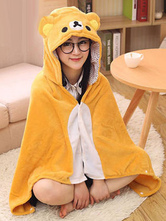 Anime Costumes AF-S2-657503 Bear Kigurumi Costume Orange Animal Snuggies Flannel Poncho Cape Adult Onesie Pajamas
