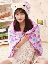 Anime Costumes AF-S2-657483 Kigurumi Cat Costume Lilac Floral Animal Snuggies Flannel Cape Cloak Adult Onesie Pajamas