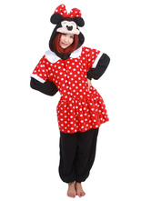 Anime Costumes AF-S2-657551 Kigurumi Pajama Mickey Mouse Onesie Red Flannel Sleepwear For Adults