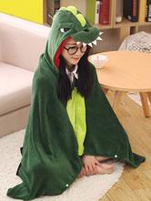 Anime Costumes AF-S2-657501 Kigurumi Dinosaur Costume Green Animal Snuggies Flannel Cape Cloak Adult Onesie Pajamas
