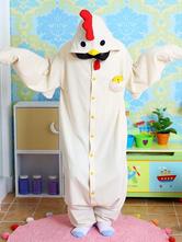 Anime Costumes AF-S2-657541 Kigurumi Pajama Chicken Onesie White Flannel Animal Jumpsuit Sleepwear For Adults