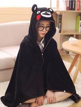 Anime Costumes AF-S2-657507 Kigurumi Pajama Kumamon Onesie Snuggie Black Flannel Sleepwear For Adult