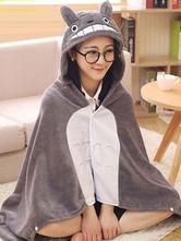 Anime Costumes AF-S2-657489 Totoro Kigurumi Costume Grey Animal Snuggies Flannel Poncho Cape Adult Onesie Pajamas