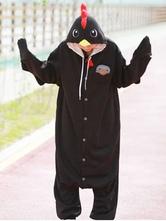Anime Costumes AF-S2-657537 Kigurumi Pajama Chicken Onesie Black Flannel Animal Sleepwear For Adults