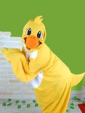 Anime Costumes AF-S2-657539 Kigurumi Pajama Duck Onesie Yellow Flannel Animal Jumpsuit Sleepwear For Adults