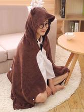 Anime Costumes AF-S2-657487 Kigurumi Reindeer Costume Brown Animal Snuggies Flannel Cape Cloak Adult Onesie Pajamas