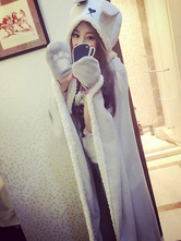 Anime Costumes AF-S2-657481 Adult Onesie Pajamas Kigurumi Rabbit Costume Grey Animal Snuggie Flannel Poncho Cape Blanket