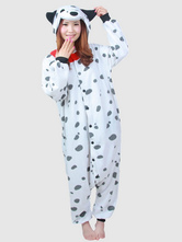 Anime Costumes AF-S2-657553 Kigurumi Pajama Dalmatian Dog Onesie White Flannel Sleepwear For Adults
