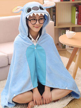 Anime Costumes AF-S2-657497 Kigurumi Onesie Pajamas Stitch Costume Blue Snuggies Flannel Adult Poncho Cape Costume