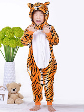 Anime Costumes AF-S2-657555 Kigurumi Pajama Tiger Onesie Yellow Flannel Animal Sleepwear For Kids