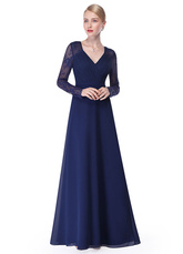 V Neck Evening Dress Illusion Lace Sleeve Mother Of The Bride Dress Ruched A Line Floor Length Wedding Party Dress In Dark Navy wedding guest dress