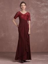 Burgundy Evening Dress Lace Pleated Mother's Dress V Neck Half Sleeve Floor Length Mermaid Party Dress Milanoo