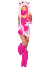 Anime Costumes AF-S2-659533 Halloween Sexy Dinosaur Costume Pink Faux Fur Mini Dress Costume In 5 Piece Set