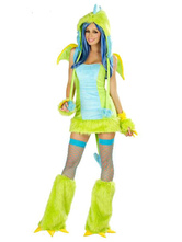 Anime Costumes AF-S2-659517 Halloween Sexy Dinosaur Costume Green Faux Fur Animal Costume In 4 Piece Set