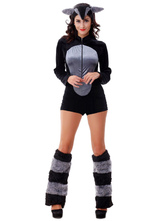 Anime Costumes AF-S2-659527 Halloween Sexy Fox Costume Grey Faux Fur Long Sleeve Jumpsuit Animal Costume In 3 Piece