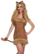 Anime Costumes AF-S2-659525 Halloween Sexy Fox Costume Khaki Faux Fur Sleeveless Backless Mini Dress Animal Costume With Headgear