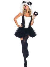 Anime Costumes AF-S2-659521 Halloween Sexy Panda Costume Black And White Short Dress With Hat Animal Costume