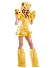 Anime Costumes AF-S2-659535 Halloween Sexy Bear Costume Yellow Faux Fur Short Sleeve Animal Costume In 6 Piece Set