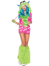 Anime Costumes AF-S2-659531 Halloween Sexy Dinosaur Costume Green Mini Dress With Hat And Boot Covers