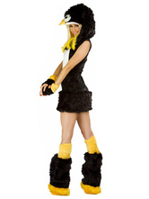 Anime Costumes AF-S2-659529 Halloween Sexy Penguin Costume Black Faux Fur Animal Costume In 4 Piece Set