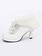 Lolitashow White Lolita Booties Round Toe Special Shaped Heel Bowed Lolita Short Boots