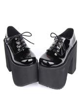 Lolitashow ロリィタ靴 ブラック チャンキーヒール 無地 カジュアル 丸いつま先 PU