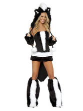 Anime Costumes AF-S2-659541 Sexy Skunk Costume Black Faux Fur Mini Dress Fantasy Costume In 6 Piece Set