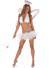 Anime Costumes AF-S2-659681 Sexy Angel Costume Halloween LoveCupid Outfit Set Women's White Mini Skirt With Wings