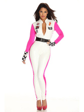 Anime Costumes AF-S2-659641 Sexy Race Car Driver Costume Halloween Women's White Plunging Neckline Jumpsuit Outfit