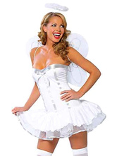 Anime Costumes AF-S2-659677 Sexy Angel Costume Halloween LoveCupid Women's White Dress With Wings