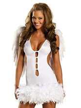 Anime Costumes AF-S2-659675 Sexy Angel Costume Halloween LoveCupid Outfit Women's White Cutout Dress With Wings