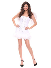 Anime Costumes AF-S2-659665 Sexy Angel Costume Halloween LoveCupid Outfit Women's White Mini Dress With Wings