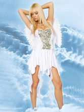 Anime Costumes AF-S2-659685 Sexy Angel Costume Halloween LoveCupid Outfit Women's White Dress With Wings