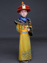 Anime Costumes AF-S2-659813 Little Emperor Costume Halloween Chinese Prince Yellow Imperial Robe Of Qing Dynasty For Kids