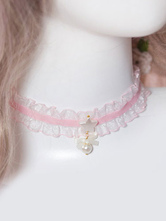 Sweet Lolita Choker Pink Lace Pearl Necklace