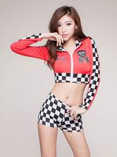 Anime Costumes AF-S2-659649 Sexy Race Car Driver Costume Halloween Women's Checker Shorts With Crop Top