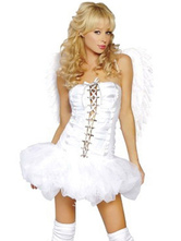 Anime Costumes AF-S2-659679 Halloween Sexy Angel Costume LoveCupid Outfit Women's White Dress With Wings