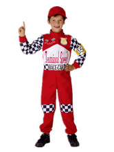 Anime Costumes AF-S2-659657 Toddler Halloween Costume Race Car Driver Red Checker Jumpsuit With Hat For Kids