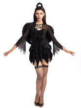 Anime Costumes AF-S2-659671 Sexy Dark Angel Costume Halloween Demon Outfit Women's Black Dress With Wings