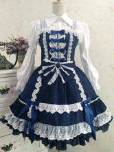 Lolitashow Sweet Lolita Dress JSK Deep Blue Lolita Dress Cotton Ruffle Tiered Lolita Jumper Skirt With Bow